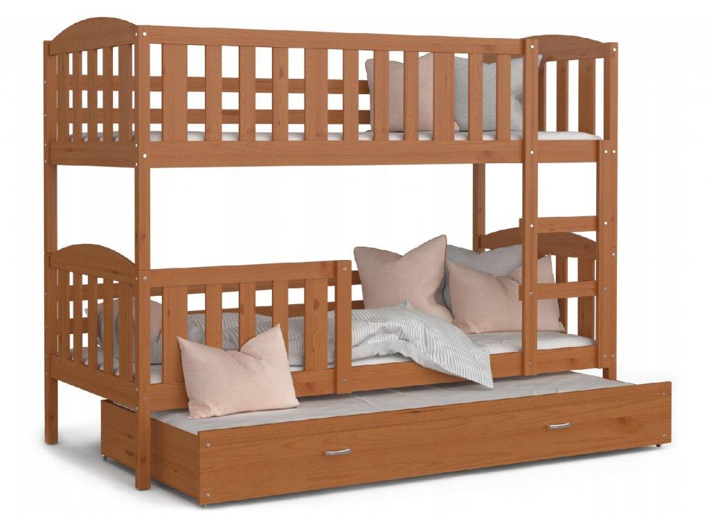 3-poschodová posteľ s prístelkou Jakub 3 Jelša 190x80 cm