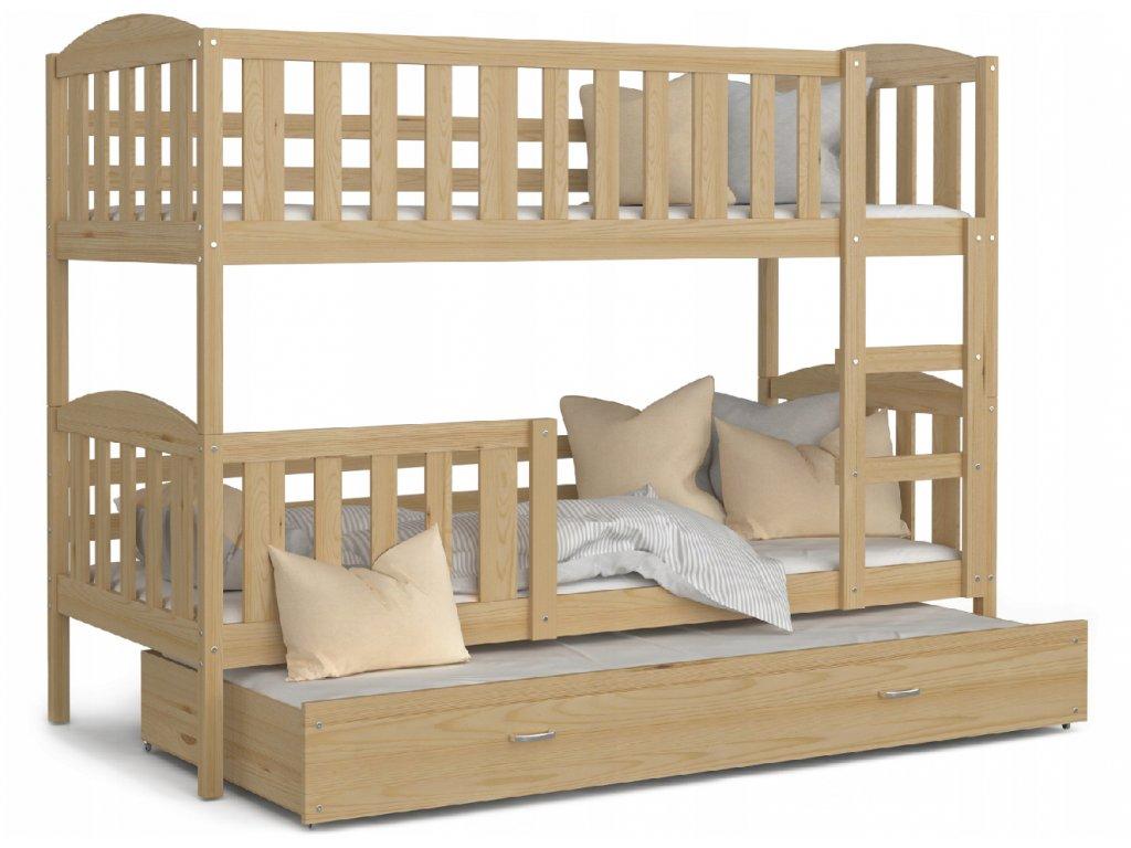 Poschodová posteľ pre troch Jakub 3 Borovica 190x80 cm