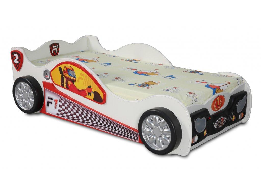 Detské auto postele Monzún biele s Led diódami