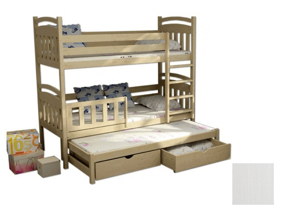 LPT 001 180x80 Poschodová posteľ s prístelkou