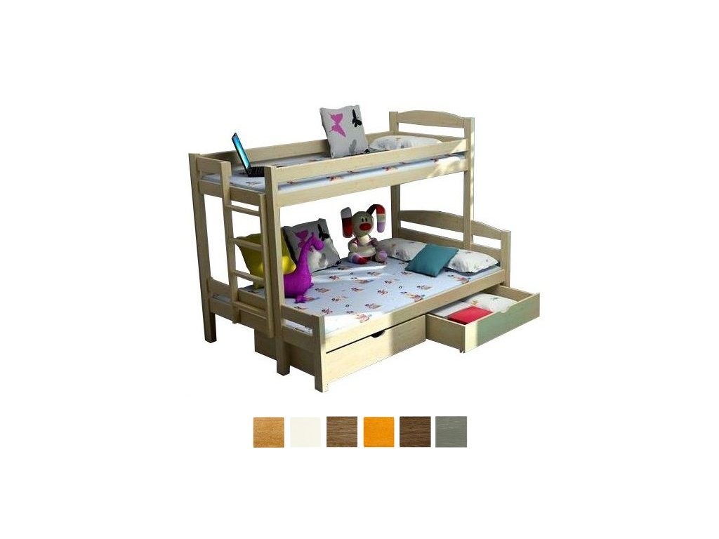 Poschodová posteľ Petra 4 180x120 cm - viac farieb