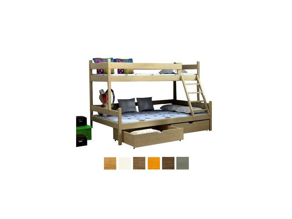 Poschodová posteľ Petra 6 200x120x80 cm - viac farieb