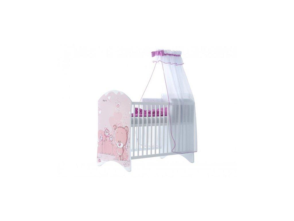 Ružový macík 120x60 detská postieľka