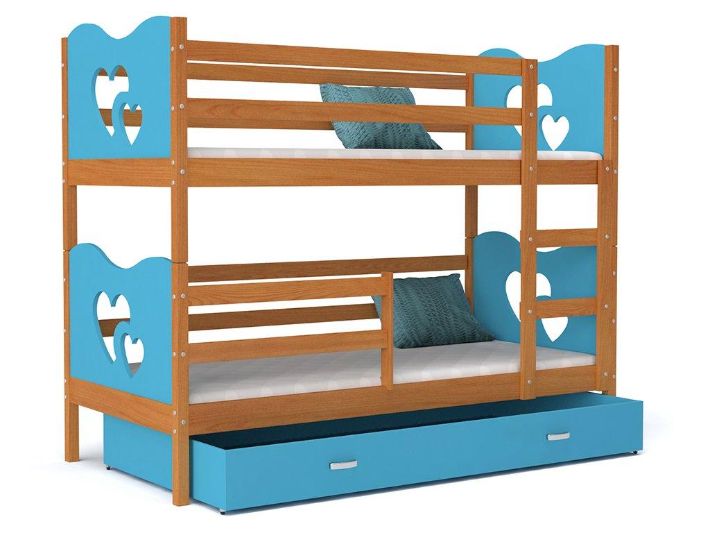 Detská poschodová posteľ MAX 190x80 modrá - Srdcia - výpredaj