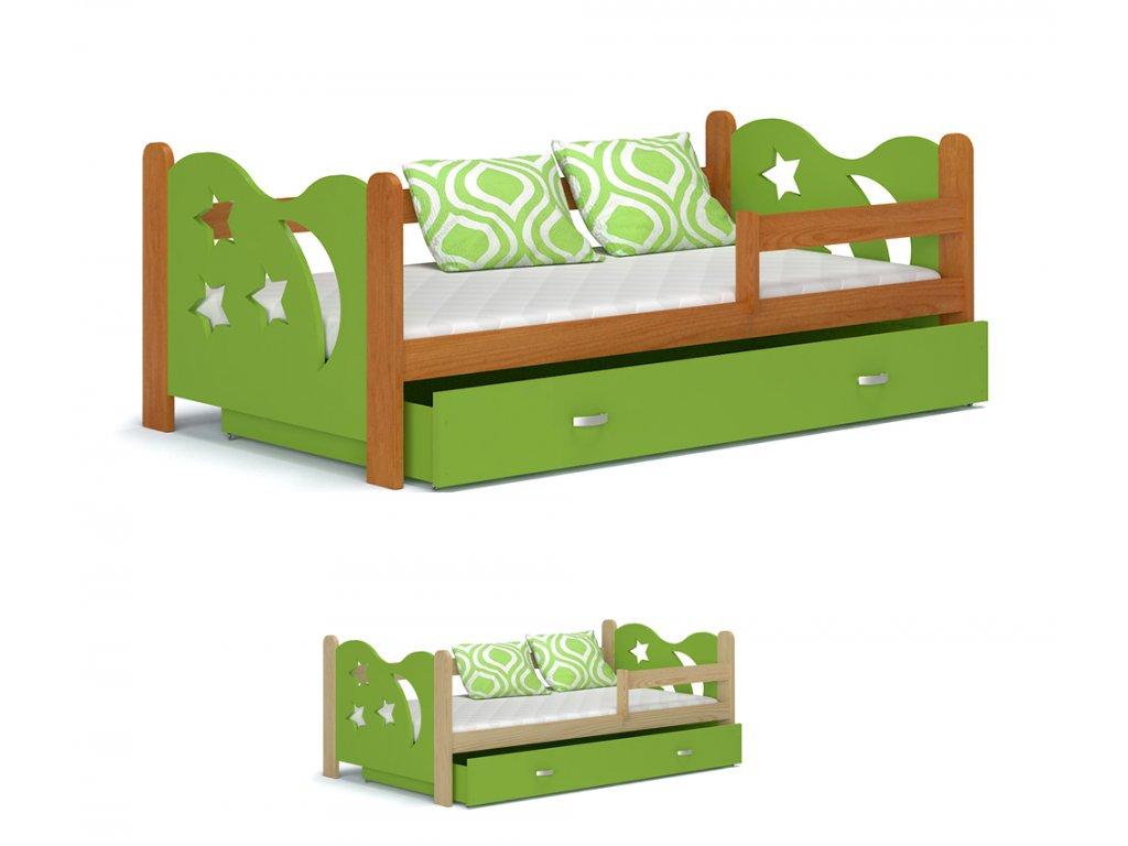 Mikolaj detská posteľ 160x80 zelená