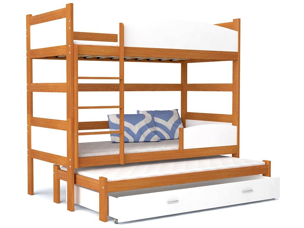 Poschodové postele s prístelkou Twist 3 Jelša 184x80