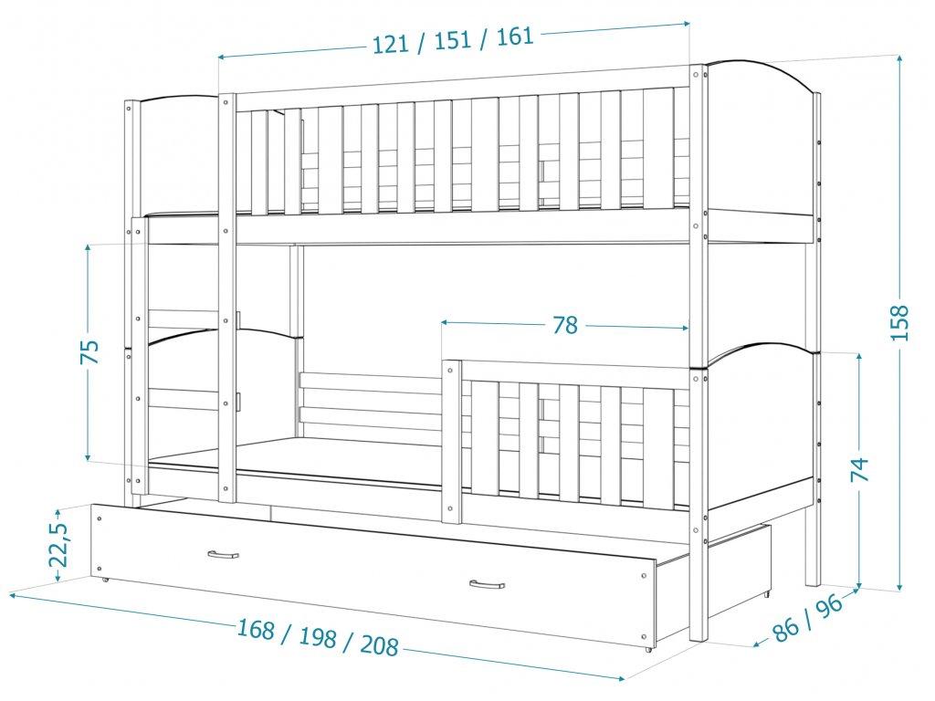 Tami Grafit MDF poschodová posteľ 190x80