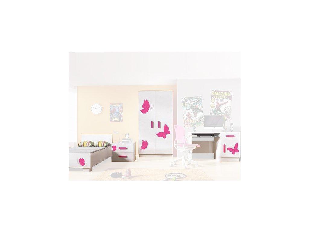 Dievčenská izba LOOP motýliky - vzor 5