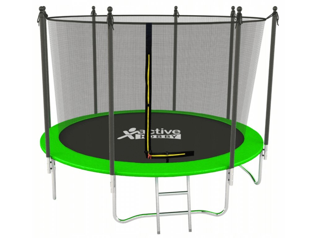 Trampolína Zelená Active Hobby 435cm s vnútornou sieťou a rebríkom