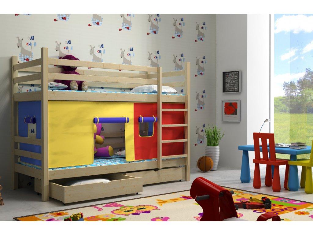 5a33402ad59e Super poschodová posteľ Hubert 200x90 so záclonkou