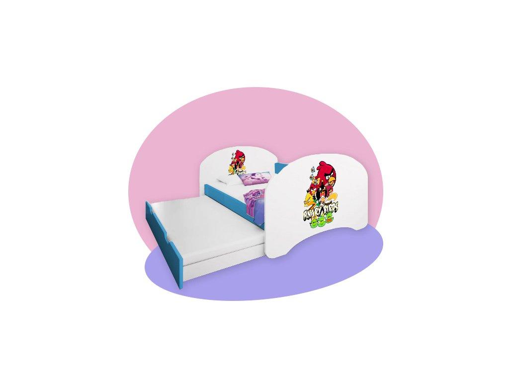 Hobby P2 180x90 modrá detská posteľ - rozprávkové motívy