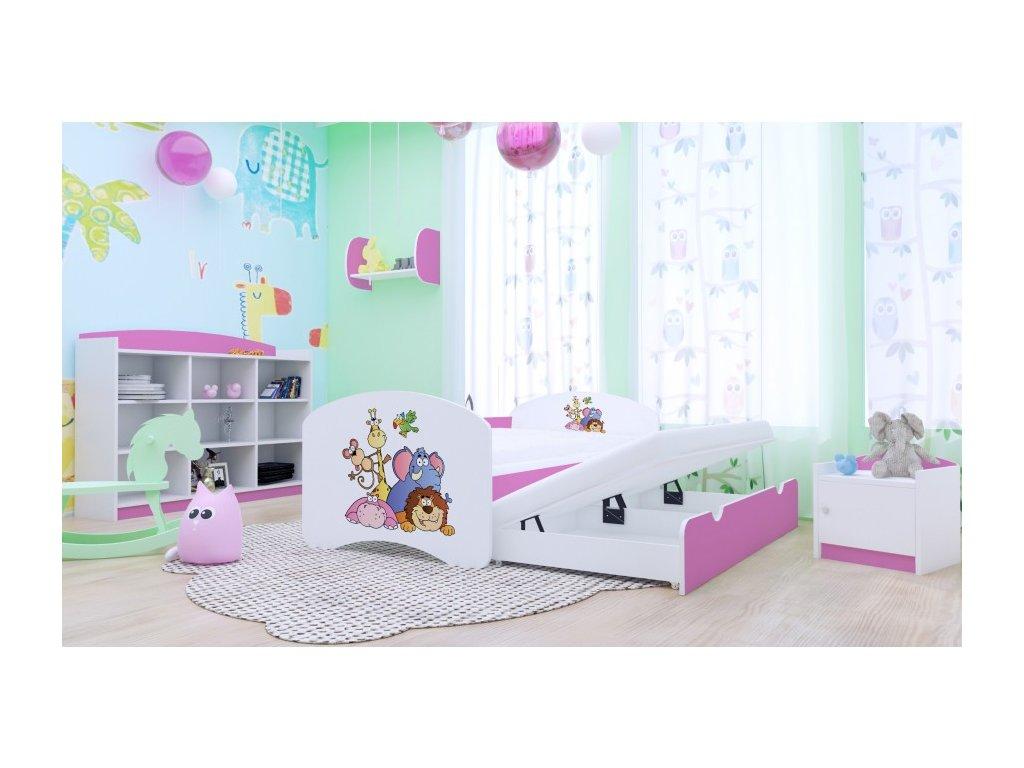 Happy P2 ružová prístelková posteľ 200x90