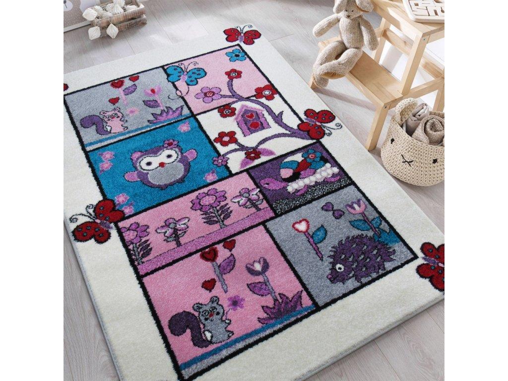 Detský krémový koberec Zvieratká - rôzne rozmery