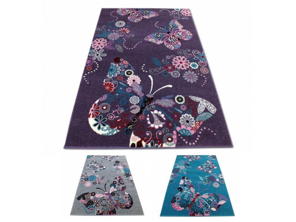 Koberec pre deti 300x400 motýle 03 - viac farieb