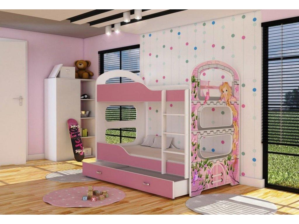 Poschodová posteľ s úložným boxom Dominik 2 160x80 - 02D