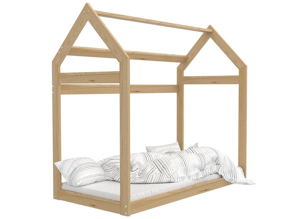 Detská posteľ v tvare Domčeka prírodný 184x80