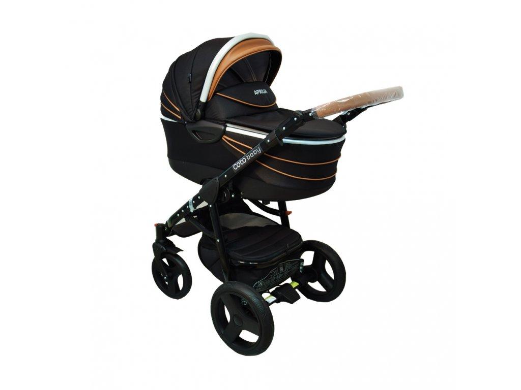 Jedinečný kombinovaný kočík Aprilia Coto Baby 2v1 BLACK-BROWN ECO