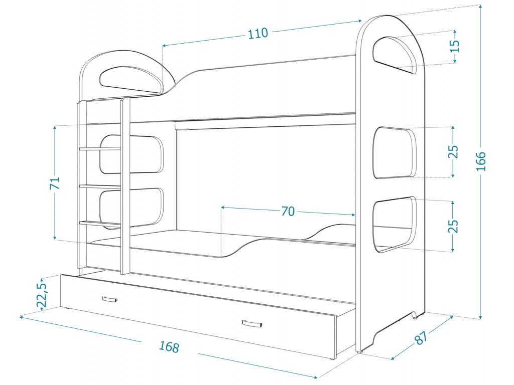 7c5a3f19d189 Poschodová posteľ Patrik biela 160x80