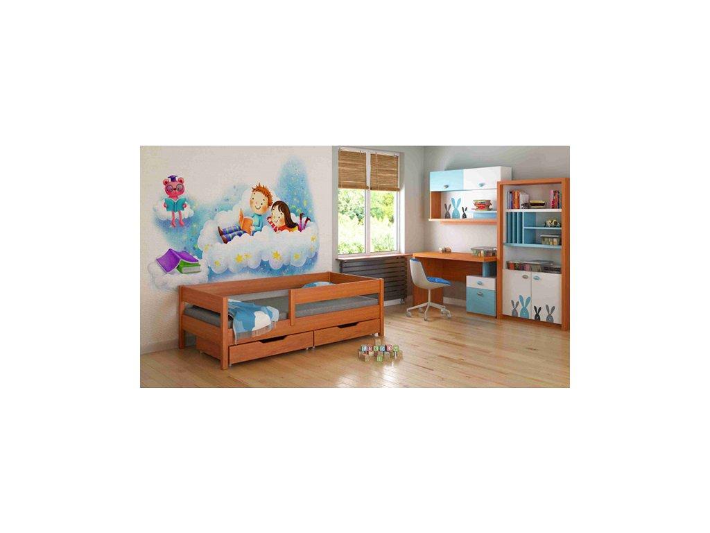 MIX 140x70 Teak detská posteľ