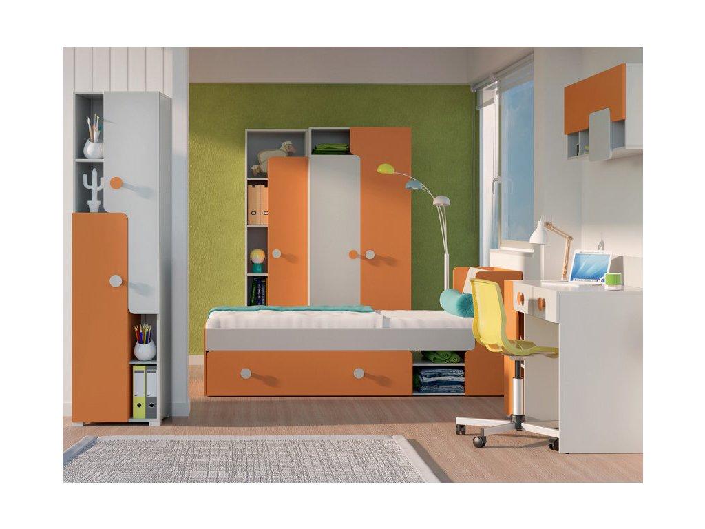 Sektorový nábytok TANIA - sivá/oranžová