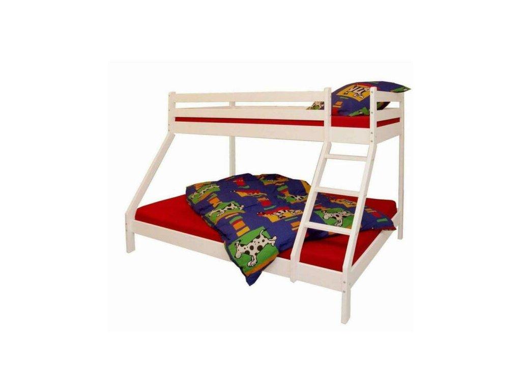 Poschodová posteľ s rozšíreným spodným lôžkom Elias 140x200 - biela