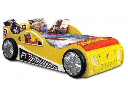 Detské postele auto žlté s Led diódami detská posteľ Monzún