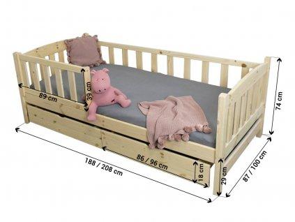 Detská posteľ Lpo 002 200x90 s úl. priestorom