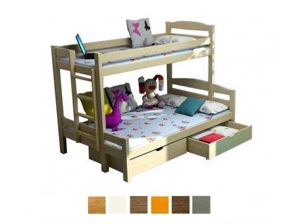 Poschodová posteľ Petra 4 200x120x80 cm - viac farieb