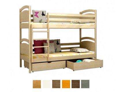 Poschodová posteľ Paula 6 200x90 cm - viac farieb