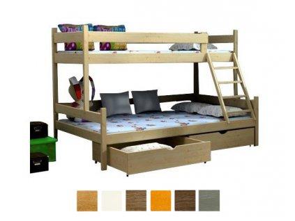 Poschodová posteľ Petra 6 180x120 cm - viac farieb