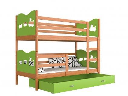MAX poschodová posteľ 190x80 zelená