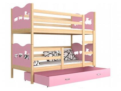 Super poschodová posteľ MAX 190x80 ružová