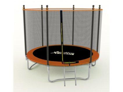 Detská Trampolína 374cm oranžová Active Hobby s ochrannou sieťou a rebríkom