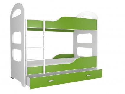 Patrik 180x80 Zelená poschodová posteľ