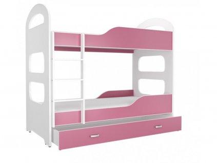 Patrik 180x80 ružová poschodová posteľ