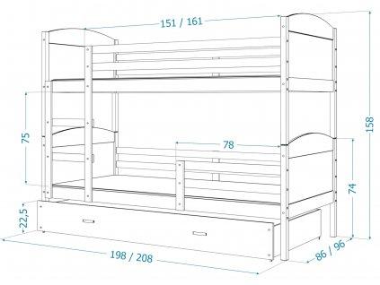 Poschodová posteľ Matúš 3 grafit MDF s prístelkou 190x80