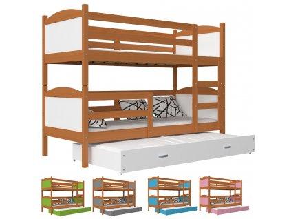 Poschodová posteľ s prístelkou Matúš 3 jelša COLOR