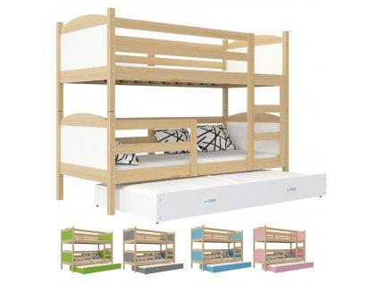 Matúš 3 borovica COLOR poschodová posteľ 190x80