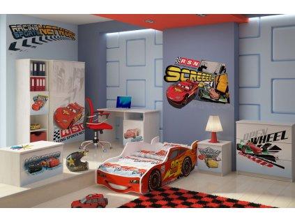 Detská izba Zygzak Mcqueen biela - 140x70 (3 ks)