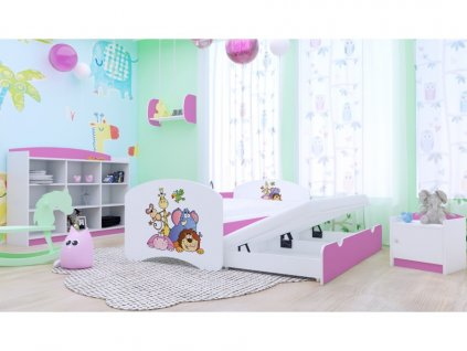 Happy P2 ružová 180x90 detská posteľ - 25 motívov