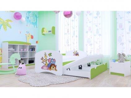 Happy P2 lemon 180x90 detská výsuvná posteľ s prístelkou - 25 motívov