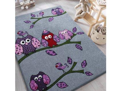 Detský sivý koberec Sovičky - rôzne rozmery