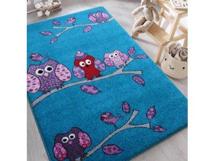 Detský tyrkysový koberec Sovičky - rôzne rozmery