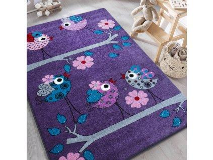 Detský fialový koberec Vtáčiky - rôzne rozmery