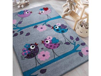 Detský sivý koberec Vtáčiky - rôzne rozmery