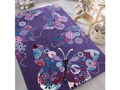 Detský fialový koberec Motýliky - rôzne rozmery