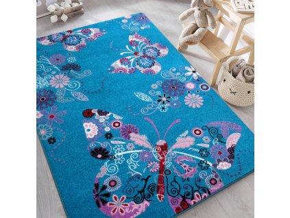 Detský tyrkysový koberec Motýliky - rôzne rozmery