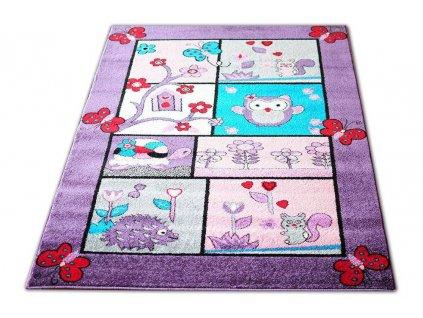 Koberec pre deti 120x170 fialové zvieratká 04
