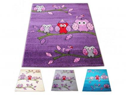 Koberec pre deti 400x500 sovy 01 - viac farieb
