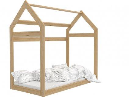 Detská posteľ v tvare Domčeka prírodný 160x80